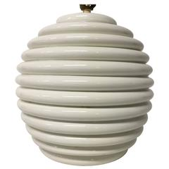 Vintage Italian Round Ceramic Table Lamp with Ribbed Design