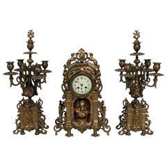 Antique Louis XV Style Gilt Bronze Clock Garniture Set, circa 1870