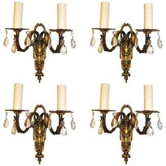 Beautiful and Elegant  Set of Four French Brass  Sconces