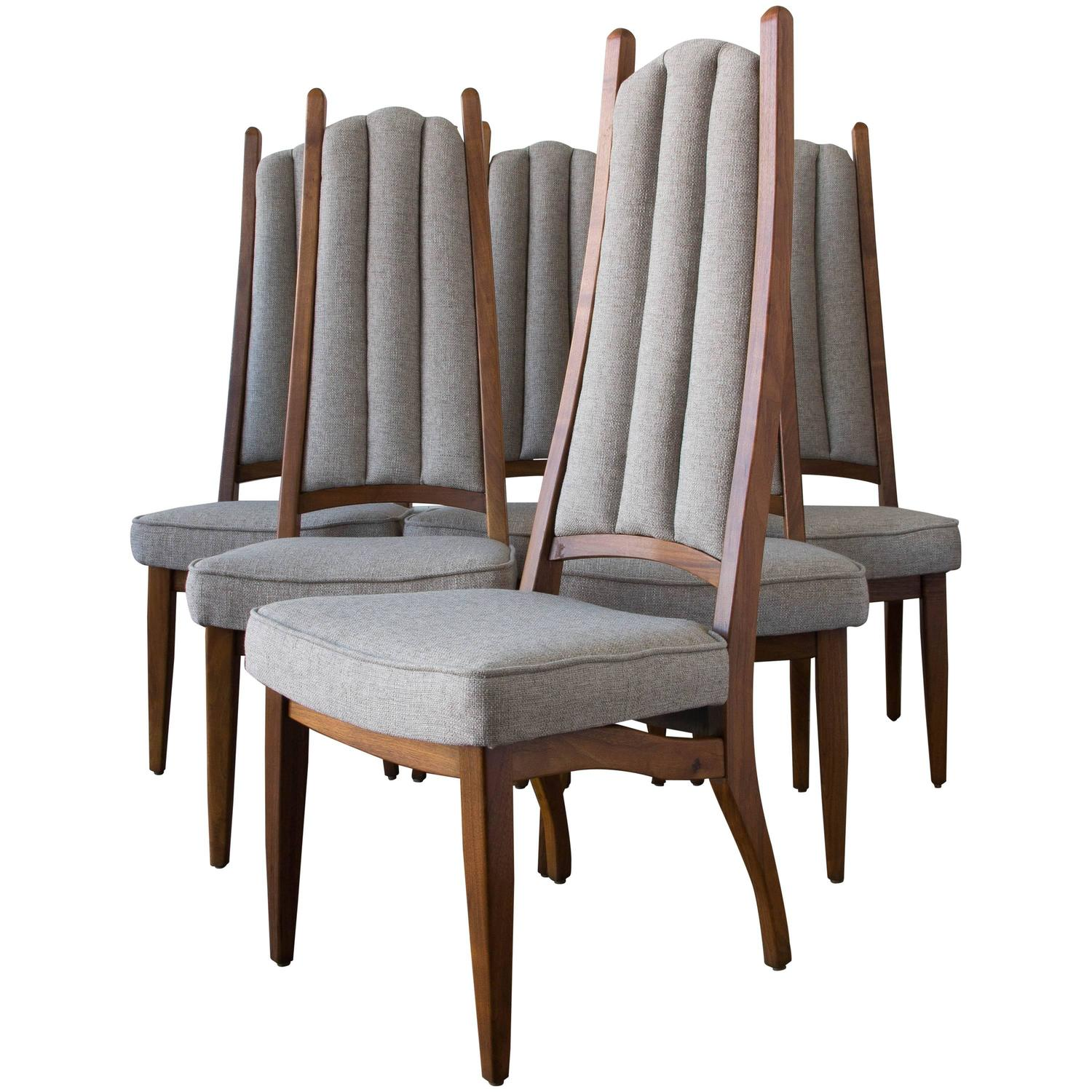 Set Of Six Cal Mode High Backed Dining Chairs For Sale At 1stdibs