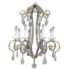 Silver and Gold Leaf Rock Crystal Chandelier