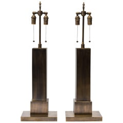Pair of 1940s Solid Brass Skyscraper Table Lamps