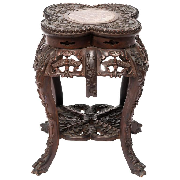 Carved Chinese Rosewood And Marble Table At 1stdibs