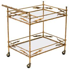 Faux Bamboo Gilt Metal Serving Cart, Italy