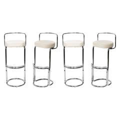 Set of Four Italian Chrome Bar Stools