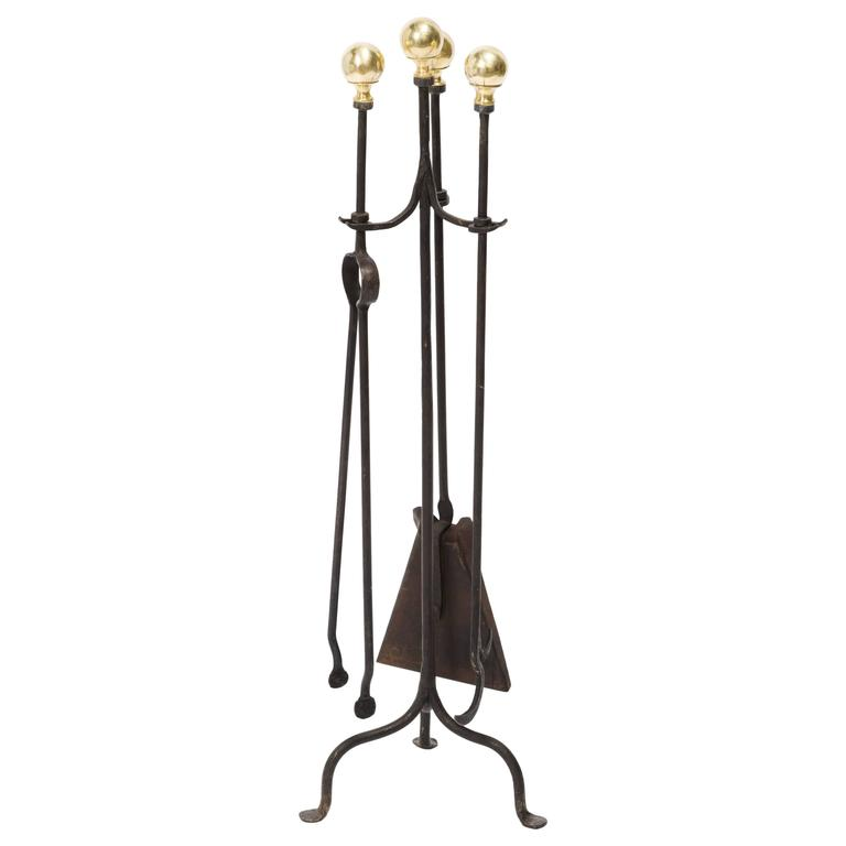 Antique Brass and Iron Fireplace Tools at 1stdibs