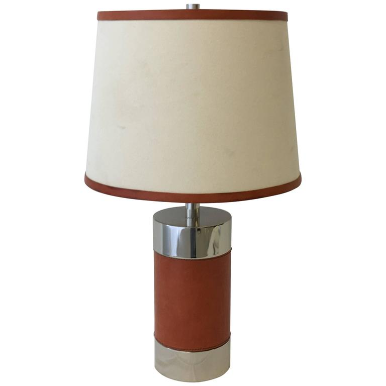 Modern Leather And Chrome Lamp By Ralph Lauren At 1stdibs