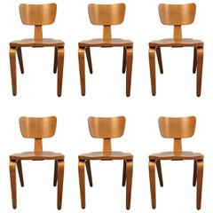 Six Beautiful Bentwood Dining Chairs by Thonet, USA, 1950s