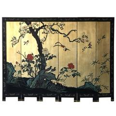 1950s Black and Gold Cherry Blossom Six-Panel Room Divider Screen