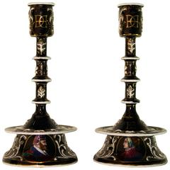 Pair of Enameled Limoges Candlesticks, Late 18th-Early 19th Century