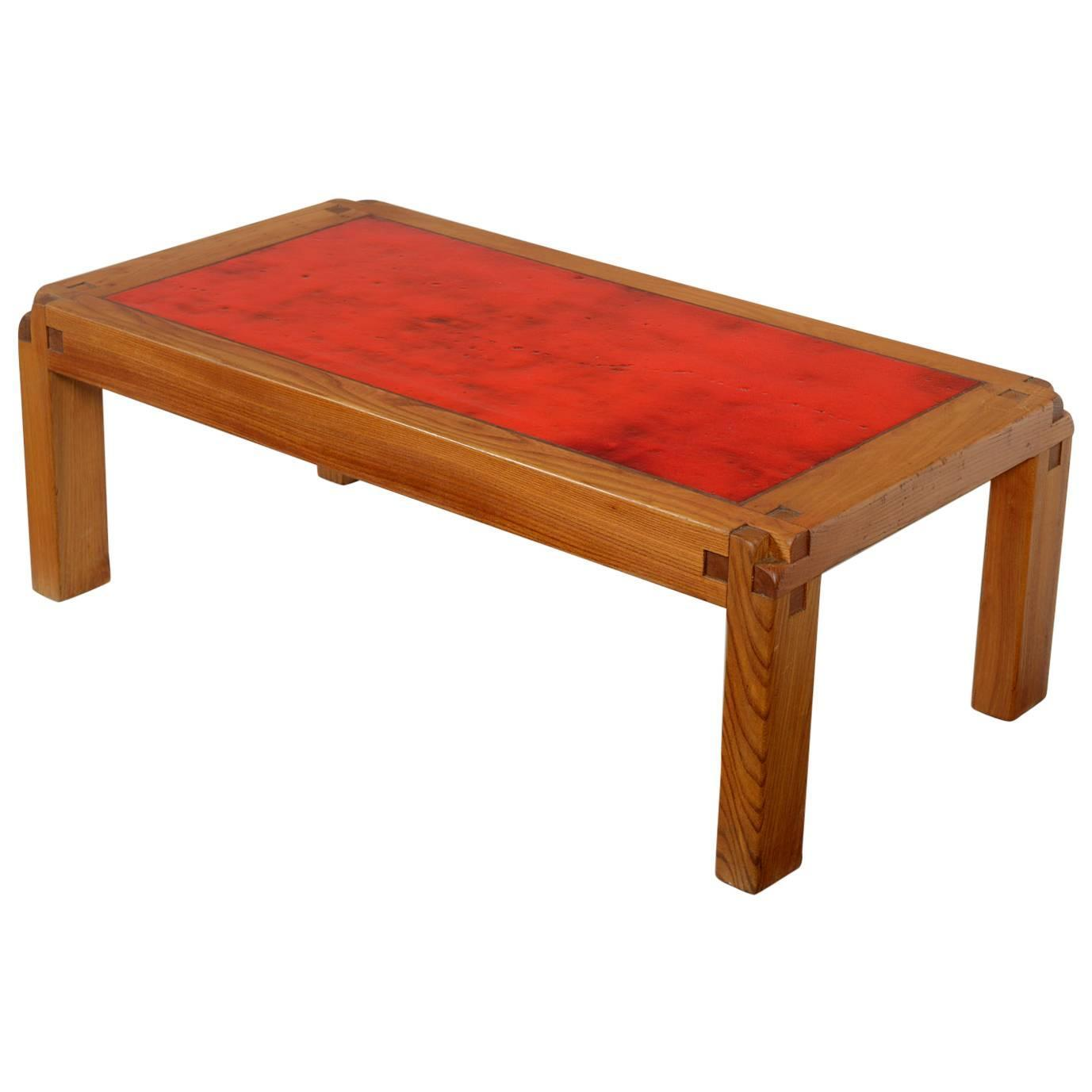 Pierre Chapo Elm And Lava Stone Coffee Table For Sale At