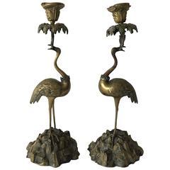 19th Century Bronze Ostrich Candlestick Holders