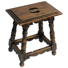19th Century Walnut Stool Jointed and pegged with turned Legs, French Ca 1830