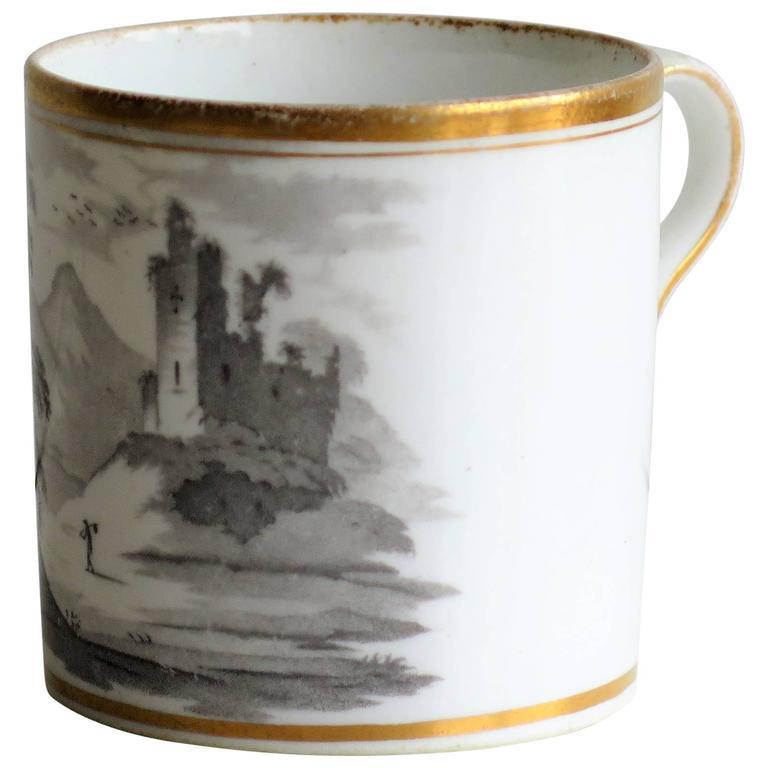 Georgian, Spode Porcelain Coffee Can, Bat Printed Landscape Ptn. 557, circa 1810 For Sale