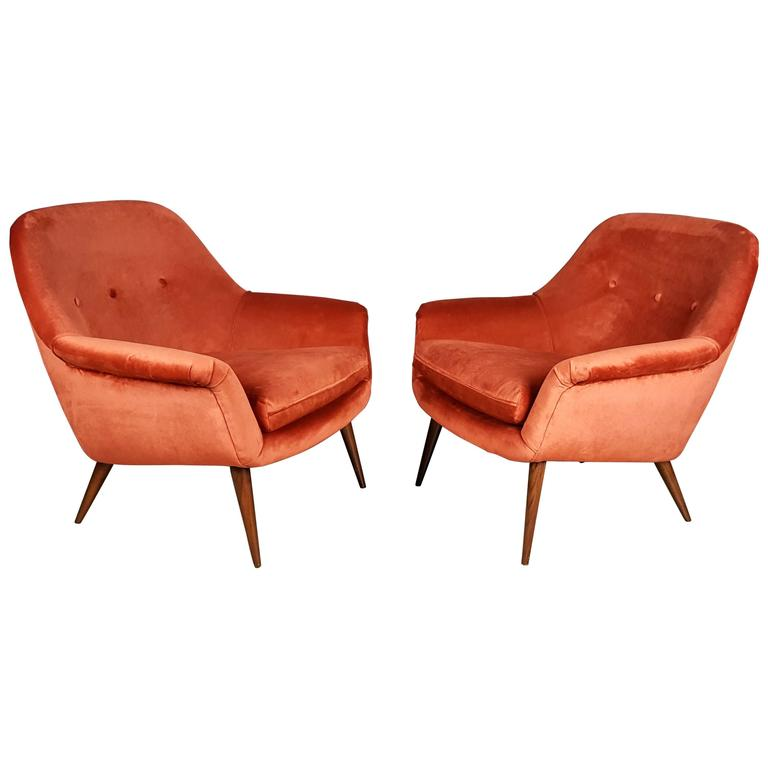 Pair of Italian Modern Lounge Chairs in Persimmon Velvet For Sale