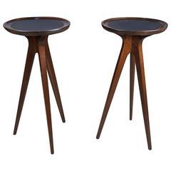 Pair of Sculptural Side Tables with Leather Tops by John Van Koert