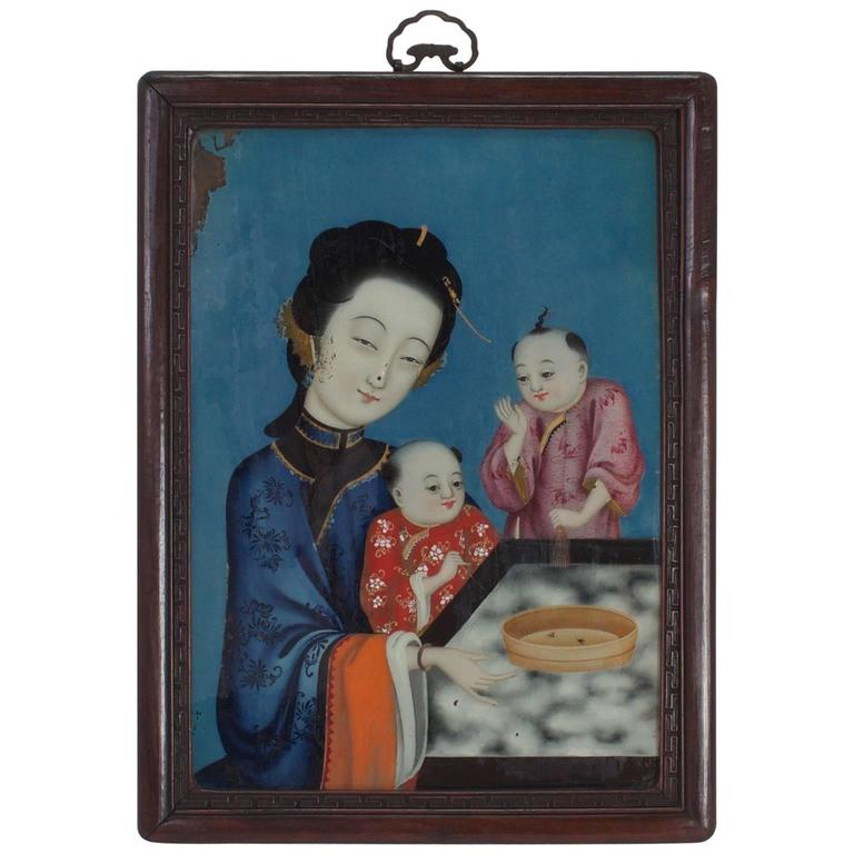 Chinoiserie Reverse Painting on Glass