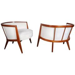 Sculptural Mahogany Lounge Chairs by Harvey Probber, 1960s