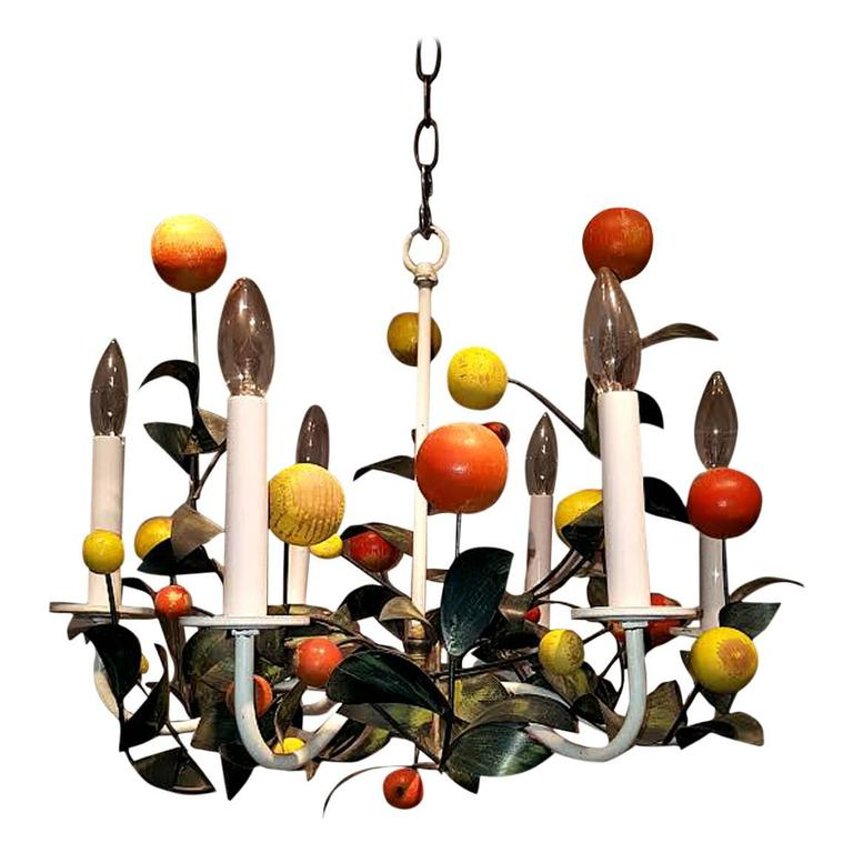Italian Painted Tole and Wood Chandelier For Sale