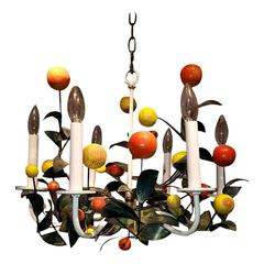 Italian Painted Tole and Wood Chandelier