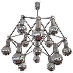 Large 1960s Space Age Atomic Chrome Chandelier