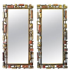 Pair of 1970s Brutalist Wall Mirrors by Syroco USA