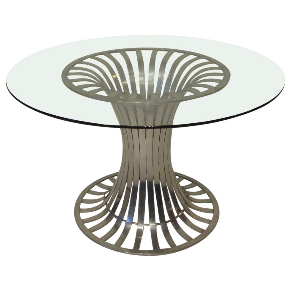 Russell Woodard Aluminium and Glass Dining / Game Table