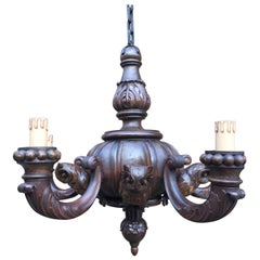 Unique Large Black Forest Carved Wood Chandelier with Five Owl Sculptures
