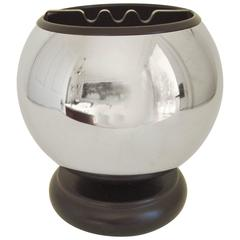Large American Mid-Century Modern Chrome & Black Enamel Spherical Table Ashtray