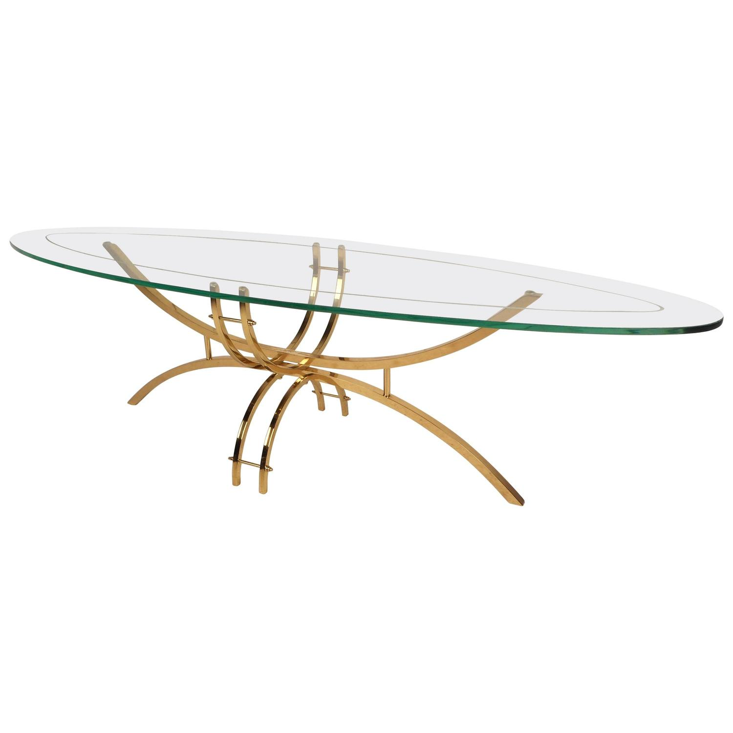 Contemporary Modern Glass And Brass Surfboard Coffee Table