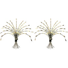 Pair of Curtis Jere Modern Sheaf of Wheat Steel and Brass Candleholders