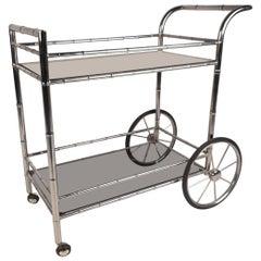 Vintage Modern Bar Cart in Faux Bamboo Finish