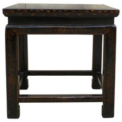 Black Lacquer End Table with Gilt Motif