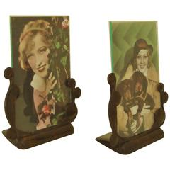Pair of English Art Deco Marbled Brown Lucite Photo Frames