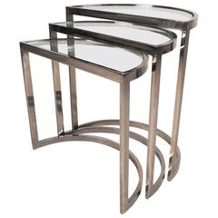 Mid-Century Modern Chrome Nesting Tables in the Style of Metropolitan Furniture