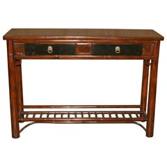 Bamboo Console Table with Black Lacquer Top