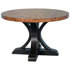 48″ Round Maple Dining Table Made from Reclaimed Box Car Flooring