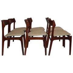 Scandinavian Modern Dining Chairs by Erik Buck, 1967, Denmark Set of Six