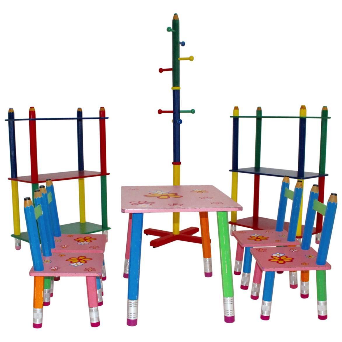Postmodern Vintage Multicolored Sitting Set by Pierre Sala 1980s France