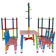 Postmodern Multicolored Sitting Set by Pierre Sala 1980s France