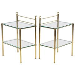 Pair of Mid-Century French Brass and Glass Side Tables