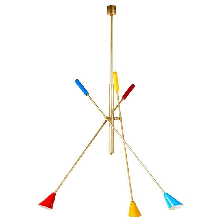 Italian Brass Ceiling Light with Articulate Arms For Sale