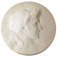 """Aphrodite,"" Masterful Marble Bas Relief Rondel by Flanagan, Sculptor for Mint"