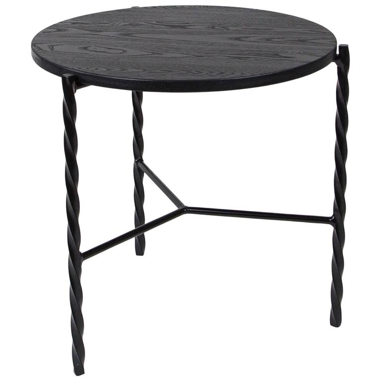Charmant Customizable Von Iron Side Table From Souda, Black, Made To Order For Sale