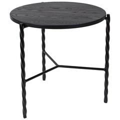 Von Iron Side Table with Black Wood Top, Modern End Table, Painted Ash & Steel