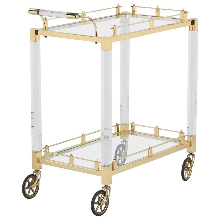 Spanish Vintage Lucite and Brass Bar Cart, 1970s For Sale