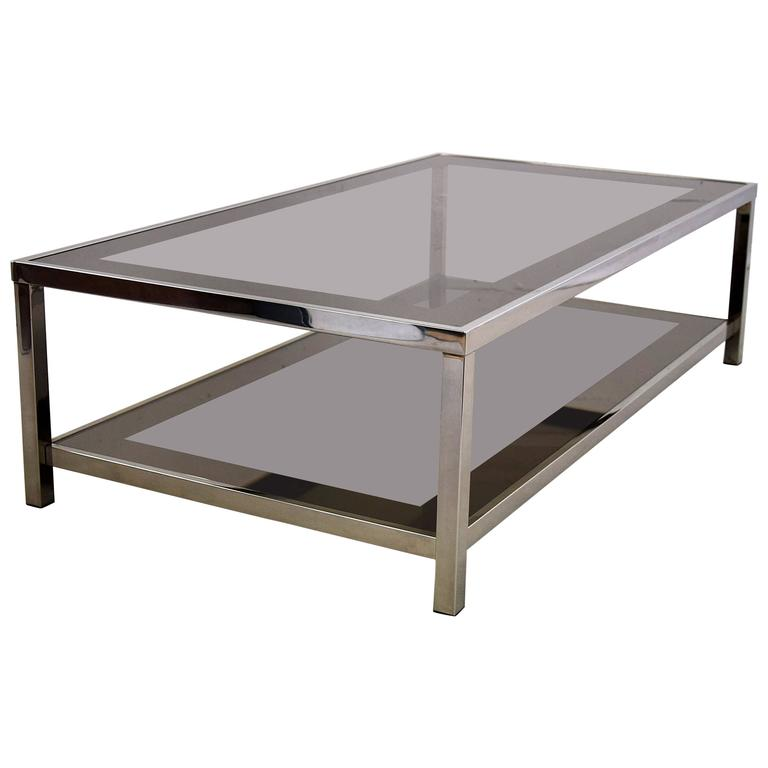 1980s Nickel Plated Two Tier Coffee Table For Sale At 1stdibs
