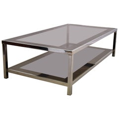 Hollywood Regency Nickel Plated Two Tier Coffee Table