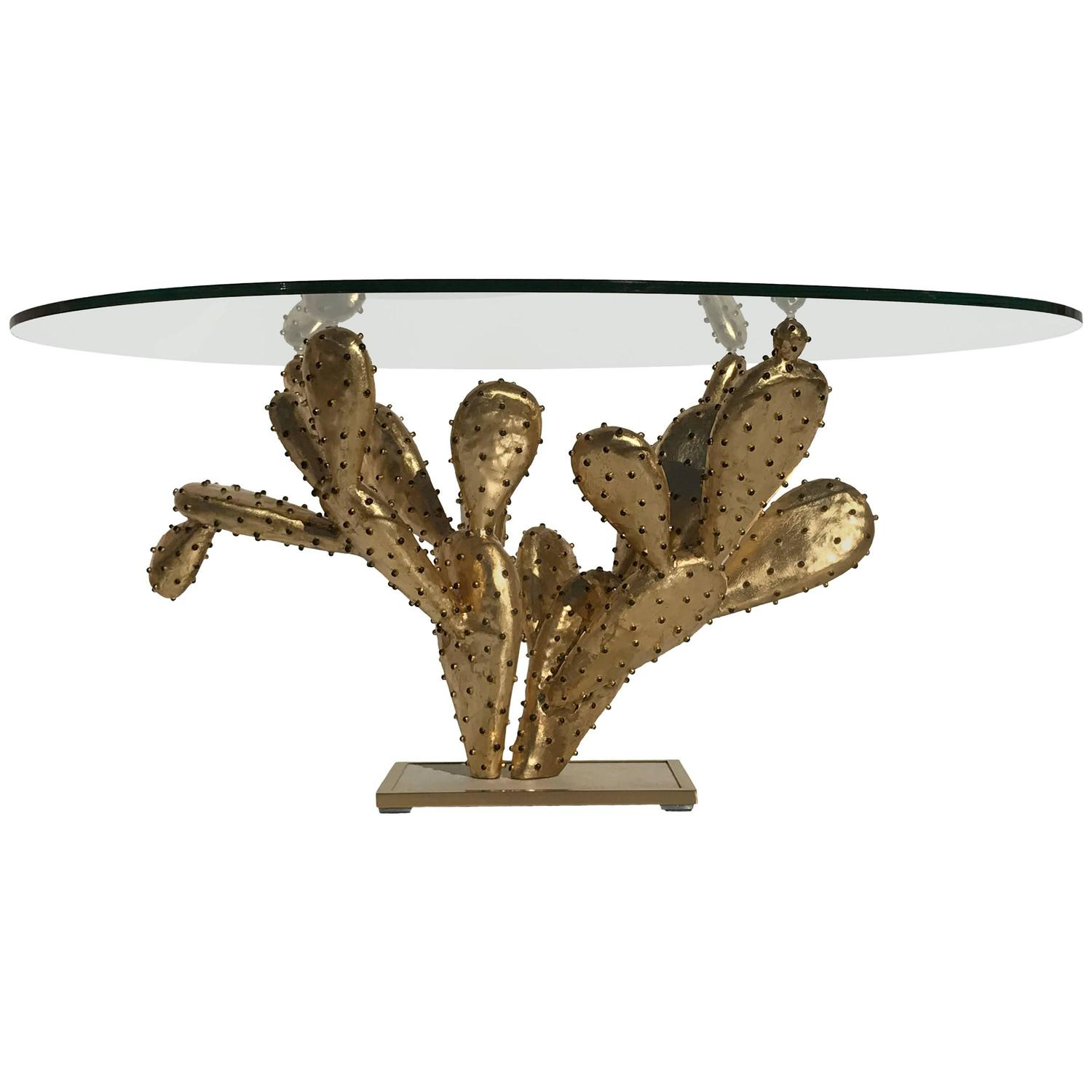 "Gilt Brass Cactus Coffee Table ""Amalfi"" by Alain Chervet For Sale"
