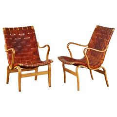 Pair of Woven Leather Eva Chairs by Bruno Mathsson